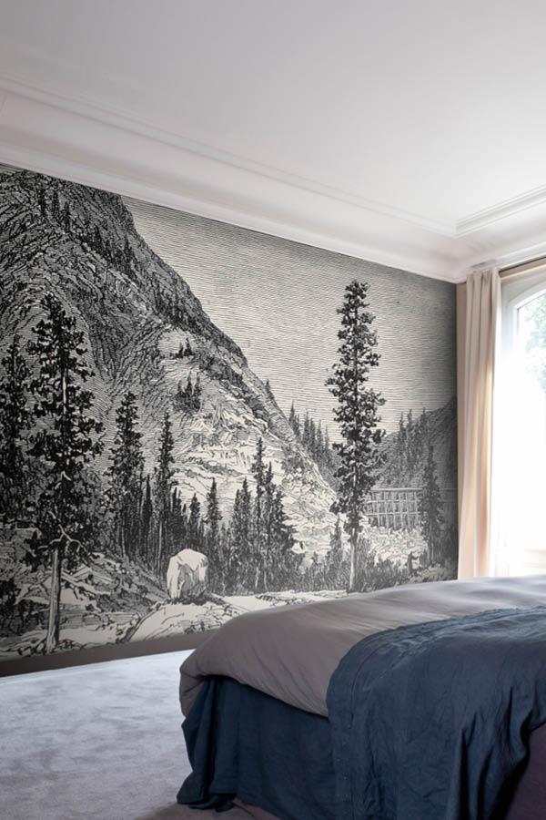 Confort incomparable avec ce mur tendu Descor Premium Classic imprimé d'une gravure
